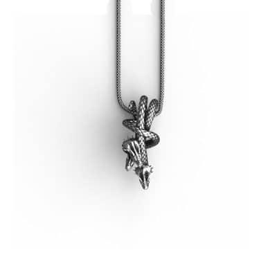 Ciondolo Drago Idra in Argento 925 Sfondo Bianco Vista Frontale - Feel No Pain