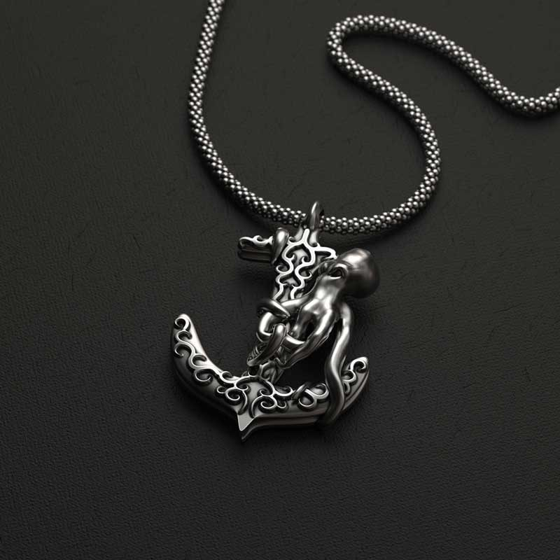 Octopus Anchor Pendant in Silver 925 on anthracite background - Front View