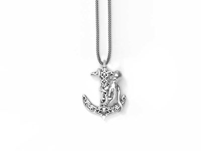 Anchor Octopus Pendant in Sterling Silver on a white background - Front View