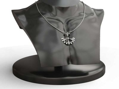 Pendant Gear in Sterling Silver on black mannequin half-body  - Feel No Pain