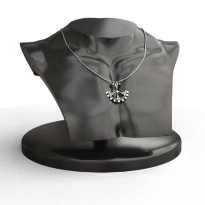 Pendant Gear in Sterling Silver on black mannequin half-body  - Feel No Pain