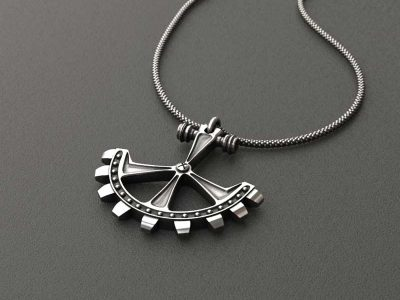 Pendant Gear in Sterling Silver on anthracite background - Front View