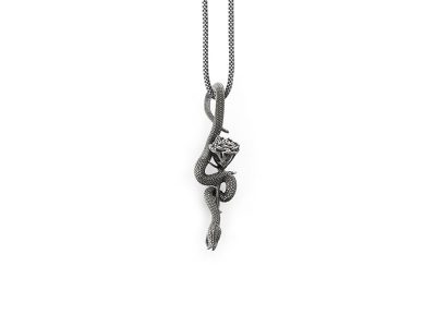 Pendente serpente con rosa in argento di Feel No Pain gioielli