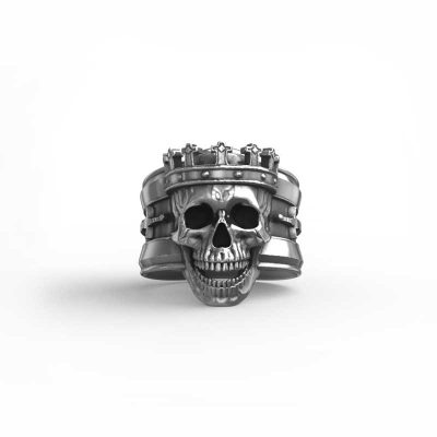 King Skull Ring in Sterling Silver white background- Feel No Pain