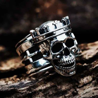 King Skull Ring in Sterling Silver wood background- Feel No Pain