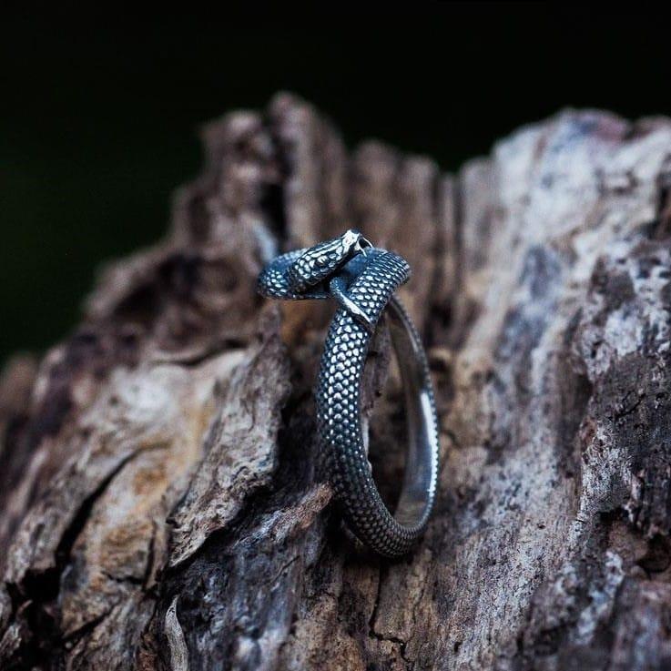 Anello serpente uroboro in argento su base di legno in vista laterale