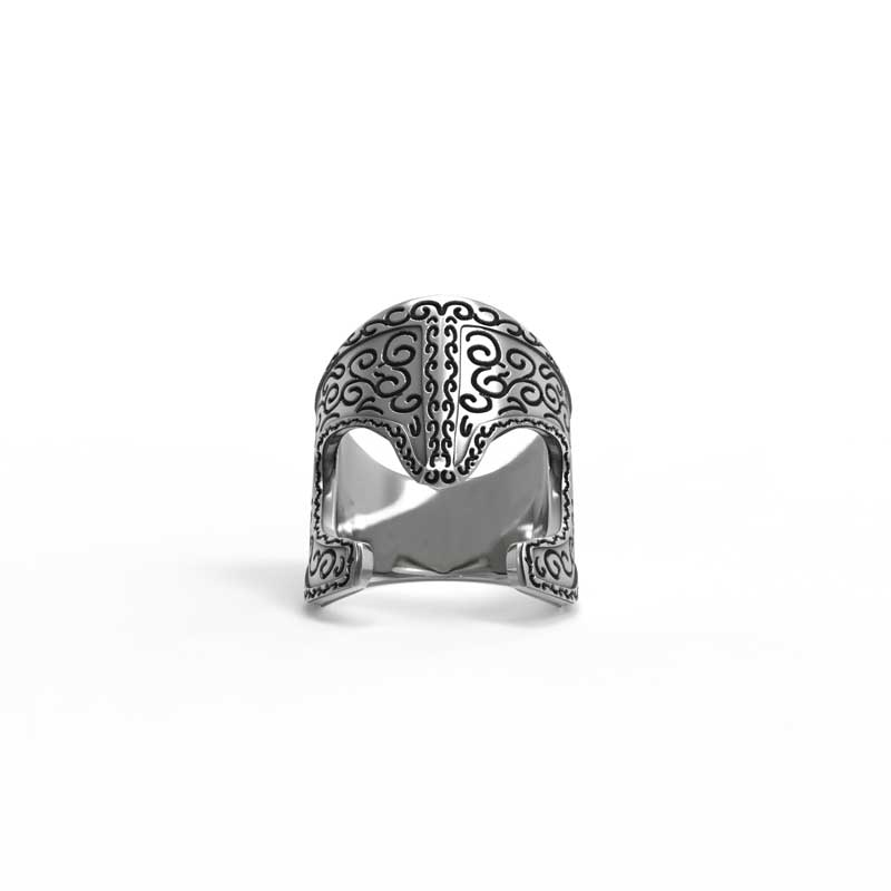 Araton Helm Ring in 925 Silver on White Background - Front View