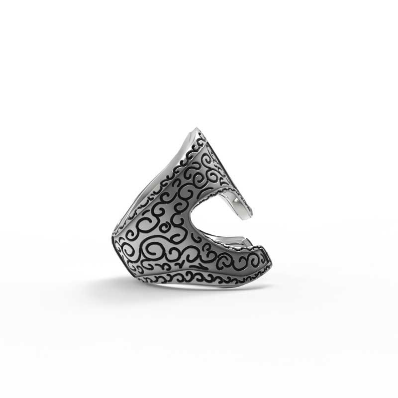 Araton Helm Ring in 925 Silver on White Background - Side View 2