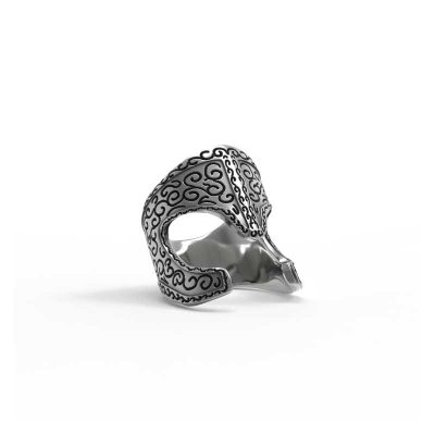 Araton Helm Ring in 925 Silver on White Background - Side View