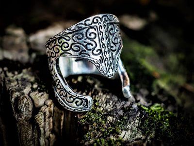Araton Helm Ring in 925 Sterling Silver on a piece of wood and moss