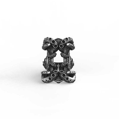 Kraken ring in 925 Silver on white background - Front View