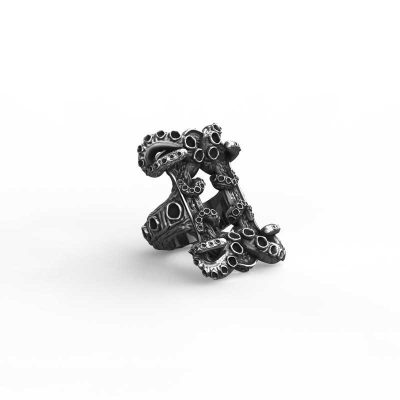 Kraken ring in 925 Silver on white background - Side View 2