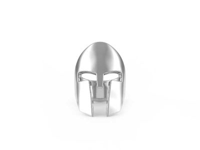Spartan Helm Ring in Sterling Silver on a white background - Front View