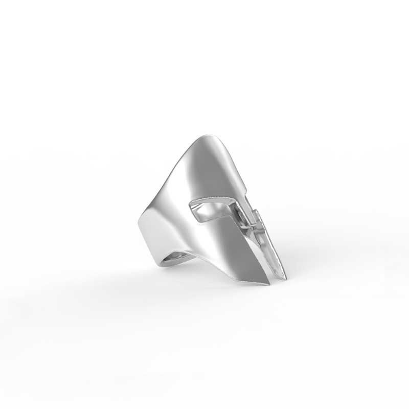 Spartan Helm Ring in Sterling Silver on a white background - Side View