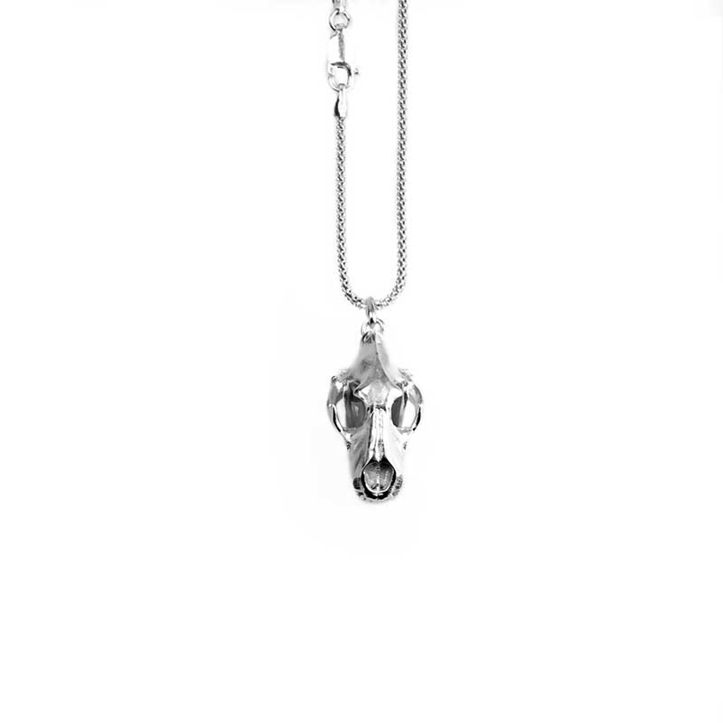 Anatomy Lion's Skull Pendant in Sterling Silver on a white background - Front View