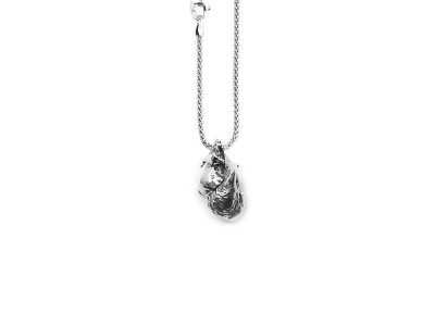 Anatomical Heart Pendant in Sterling Silver on a white background - Front View