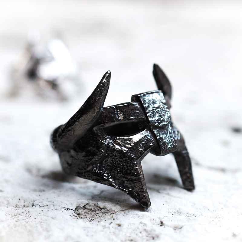 Black Rhodium Viking Helm Ring on white marble