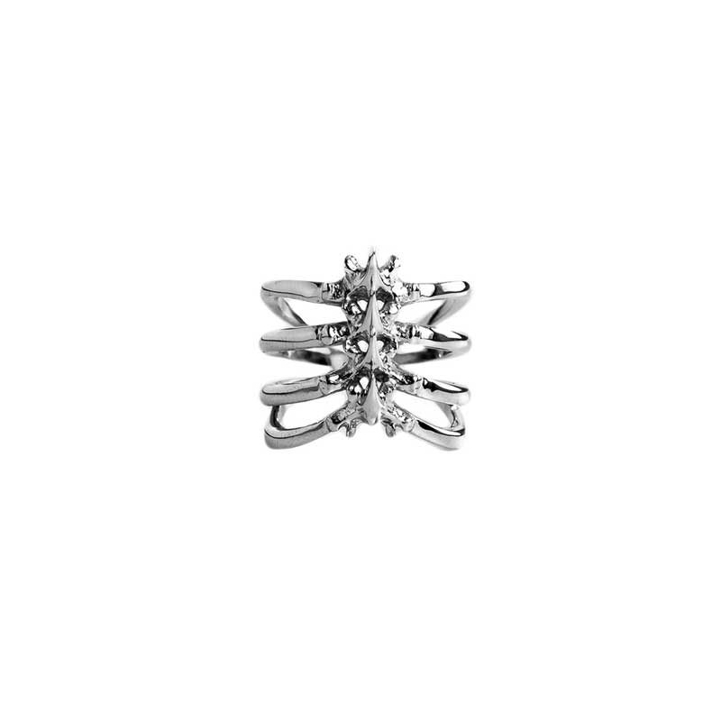 Rib Cage Ring in 925 Silver on White Background - Front View