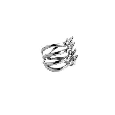 Rib Cage Ring in 925 Silver on White Background - Side View