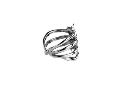 Rib Cage Ring in 925 Silver on White Background - Side View 2