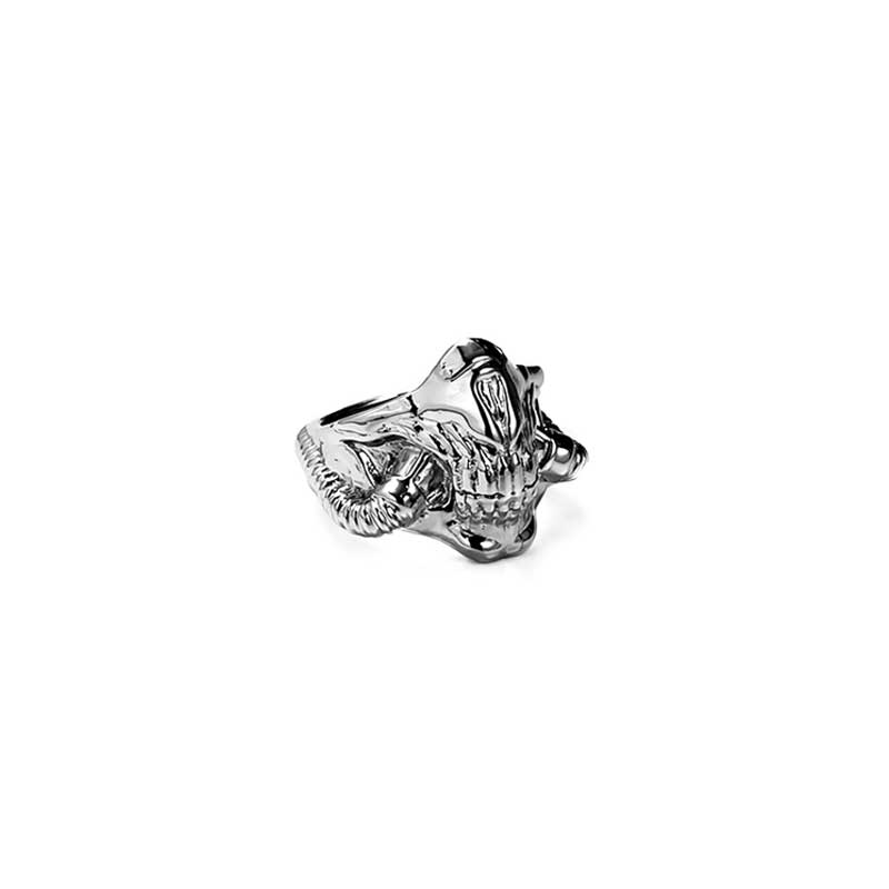 Mask Ring inspired by Mad Max in Silver 925 on white background - Side view