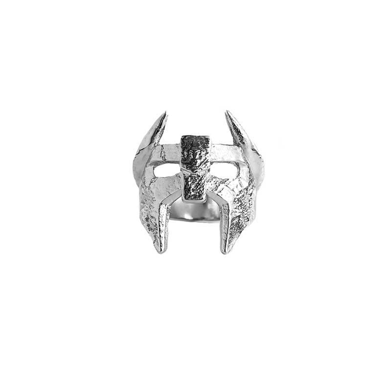 Viking Helm Ring in 925 Silver on White Background - Front View
