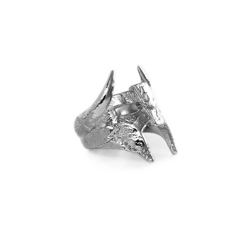 Viking Helm Ring in 925 Silver on White Background - Side View