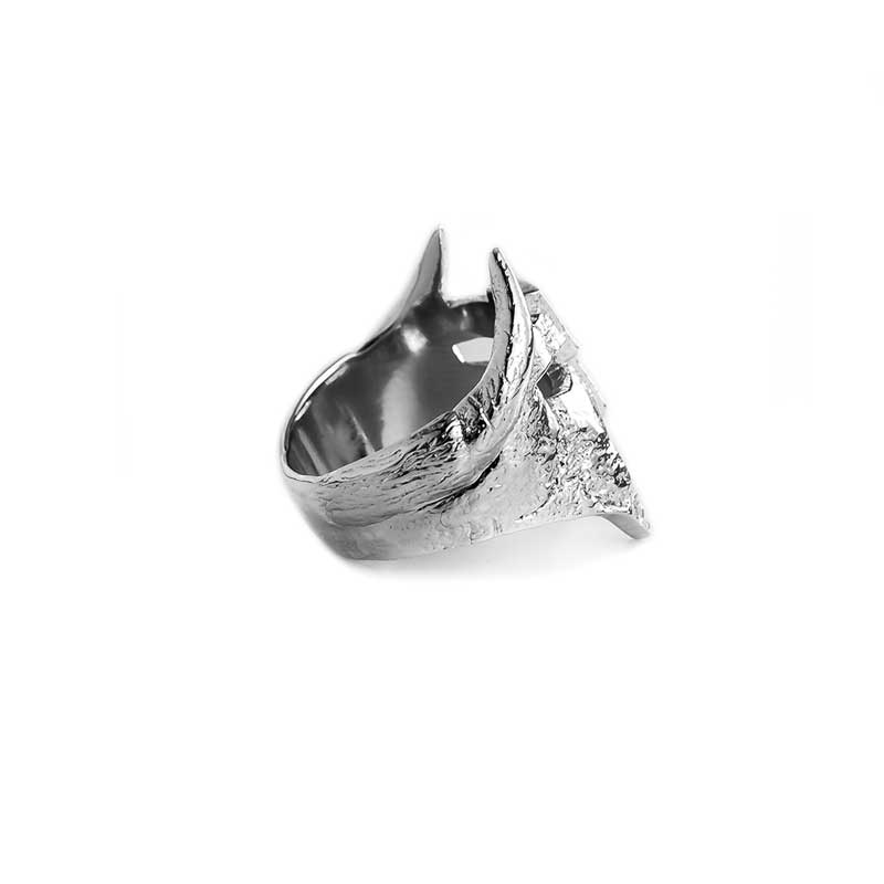 Viking Helm Ring in 925 Silver on White Background - Side View 2