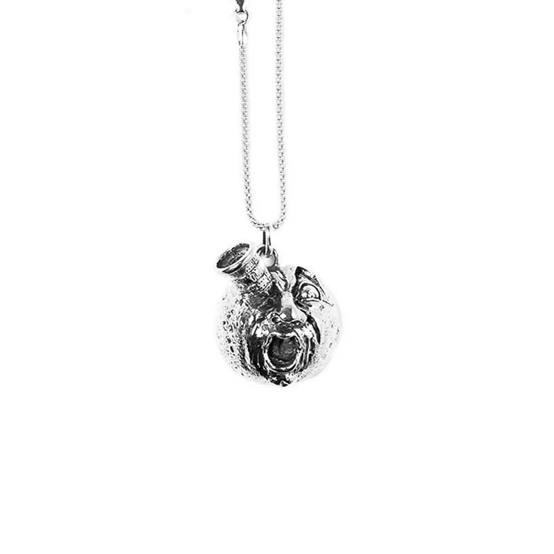 Ciondolo Luna Jules Verne con razzo nell'occhio in Argento fronte, Feel No Pain