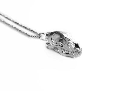 Anatomy Bear Skull Pendant in Sterling Silver on a white background - Side View
