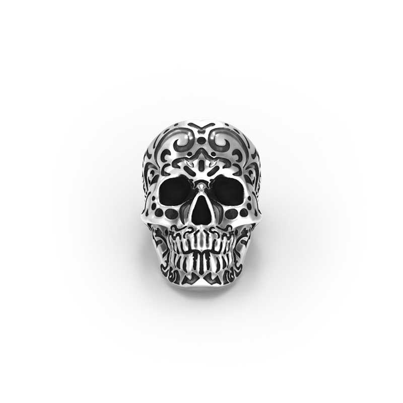 Kamate Skull Ring in Sterling Silver on a white background - Front View