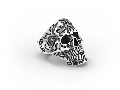 Kamate Skull Ring in Sterling Silver on a white background - Side View