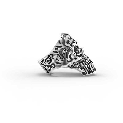 Kamate Skull Ring in Sterling Silver on a white background - Side View 2