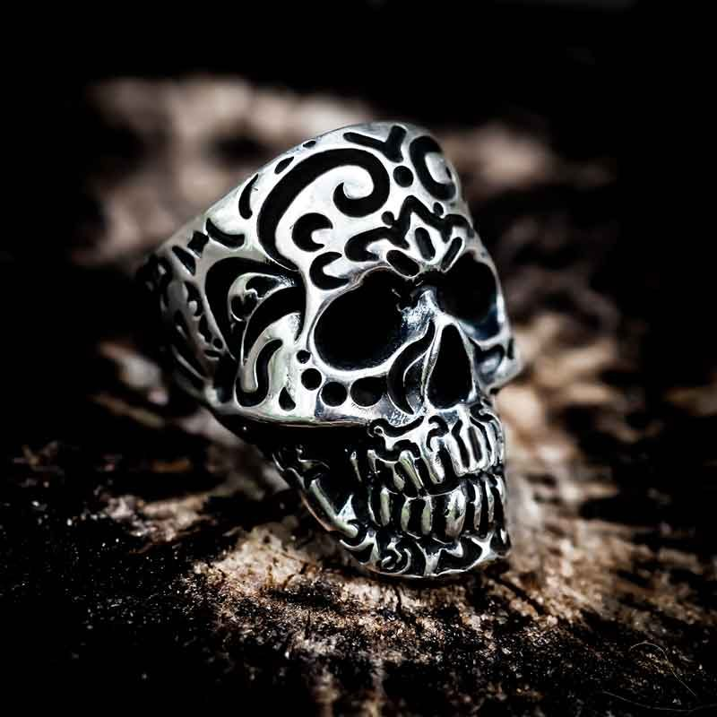 Kamate Skull Ring in Sterling Silver with burnt wood background