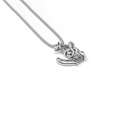 Anchor Octopus Pendant in Sterling Silver on a white background - Side View