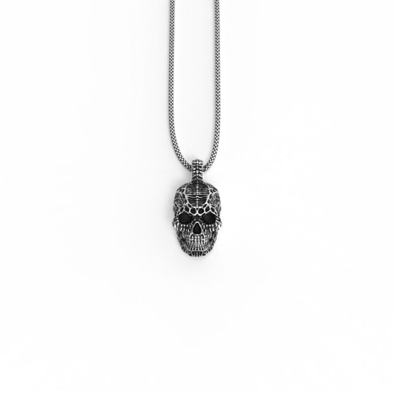 Xeno Skull Pendant in Sterling Silver on a white background - Front View