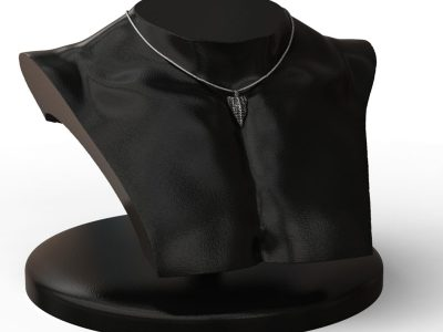 Xenon Arrow 925 Sterling Silver Pendant on a black half-bust mannequin - Side View