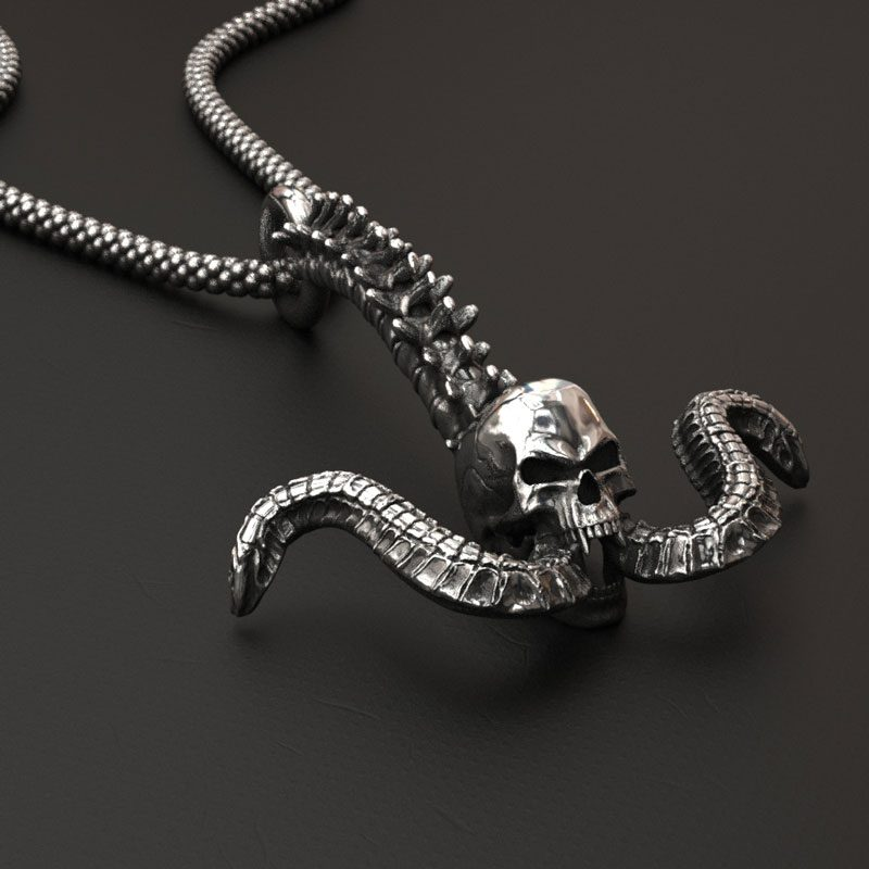 Skull Anchor Pendant in Silver 925 on anthracite background - Front View