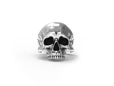 Anello teschio anatomico in argento su sfondo bianco e vista frontale