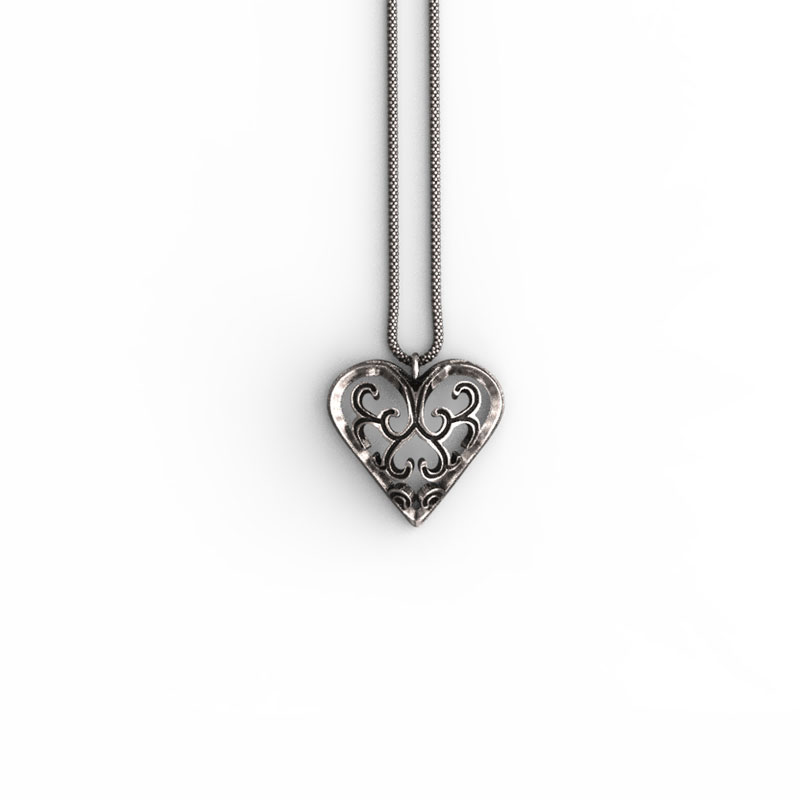 Liberty Heart Pendant in Sterling Silver on a white background - Front View