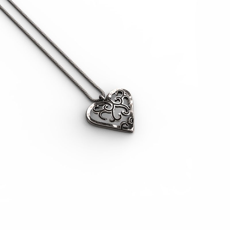 Liberty Heart Pendant in Sterling Silver on a white background - Side View