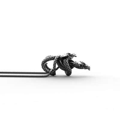 Ciondolo Drago Idra in Argento 925 Sfondo Bianco Vista Laterale - Feel No Pain