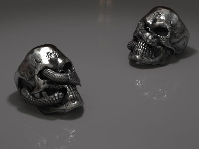 Anello teschio serpente su sfondo grigio in render