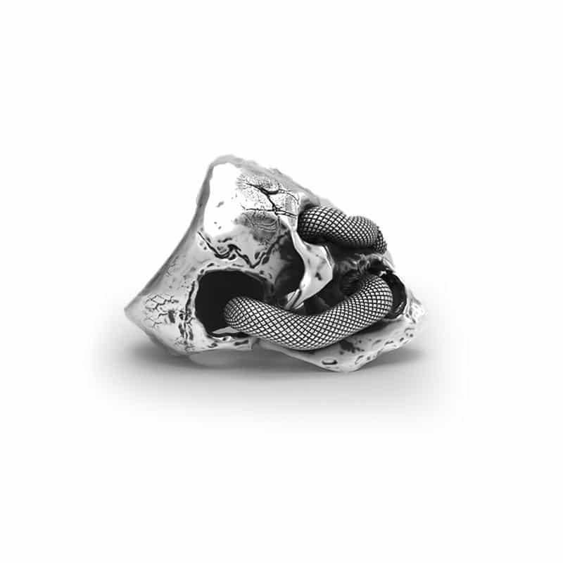Anello teschio serpente in argento su sfondo bianco e in laterale