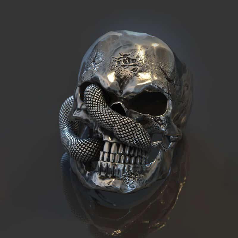 Anello teschio serpente in argento realizzato in render