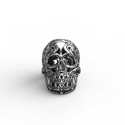 Maori Skull Ring in Sterling Silver with white background - Feel No Pain