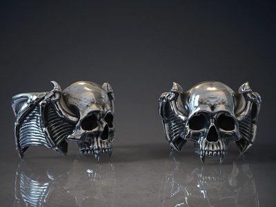 Anelli teschio vampiro in argento realizzati in render