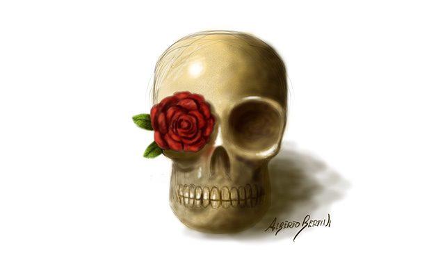 Teschio Messicano Significato - Disegno raffigurante un teschio con una rosa in un occhio - Feel No Pain