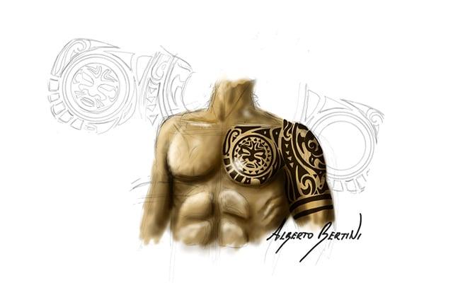 Disegno di un busto con un tatuaggio Maori sulla Spalla e braccio - Feel No Pain