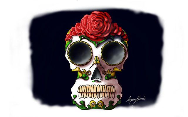 Disegno di un Teschio con Rosa Rossa - Feel No Pain